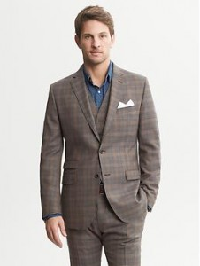 Heritage Brown Plaid Wool Suit Jacket - Brown