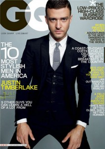 Justin Timberlake on the GQ Magazine cover featuring the 10 most stylish men.