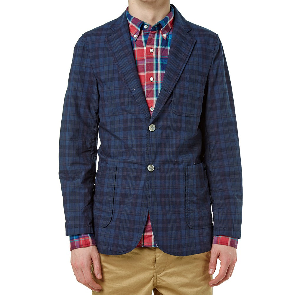 Beams Plus 3 Button Madras Check Blazer