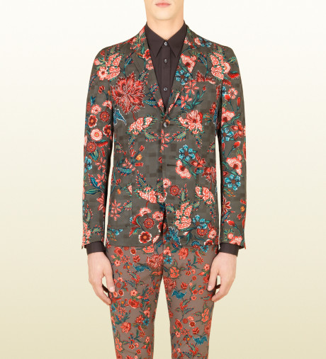 GUCCI Green Flower Print Cotton Viscose New Palma Jacket