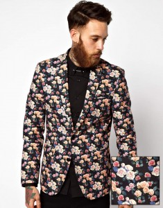 ASOS Slim Fit Blazer In Floral Print