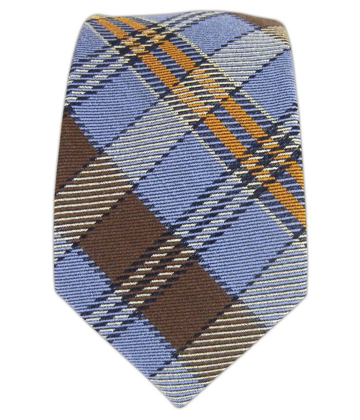 Totally Tartan Wool - Light Blue/Brown/Mango (Skinny)
