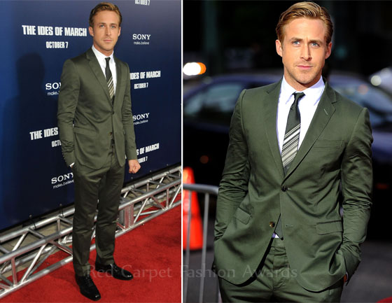 Ryan Gosling Khaki Green Suit in The Ides of March Premiere