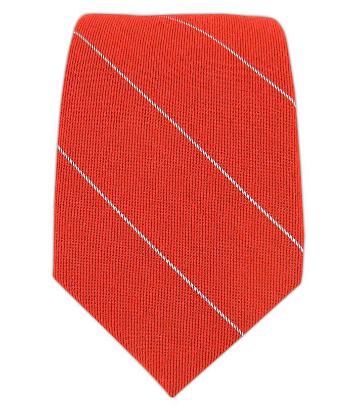 Wool Stripe Tie - Skinny Apple Red