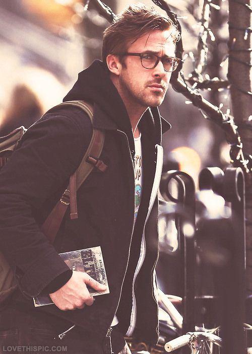 Ryan Gosling Street Wear: Glasses + Coat + Backpack