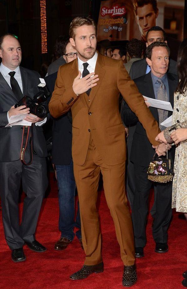 Ryan Gosling Brown Suit Black Tie