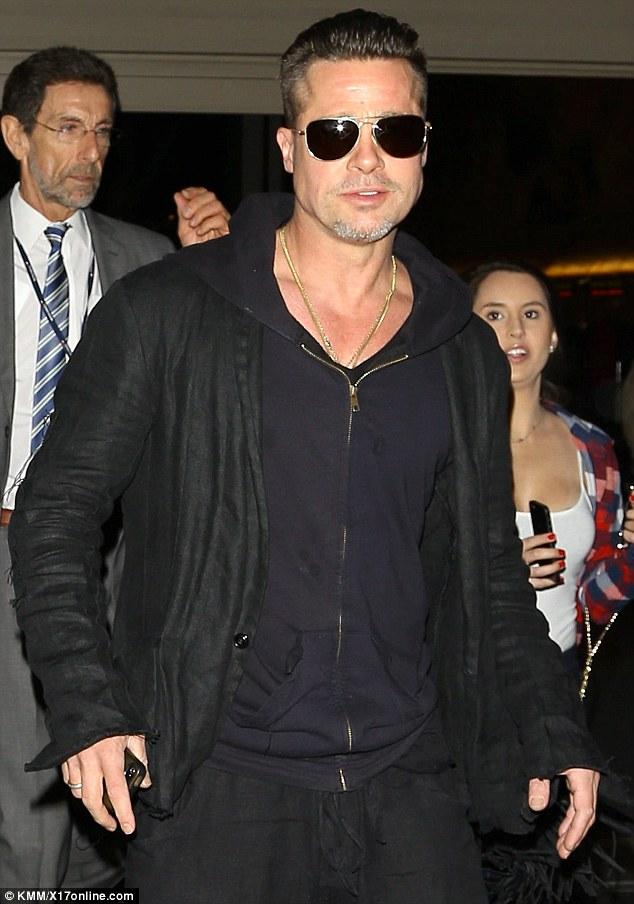 Brad Pitt wearing a Hoodie