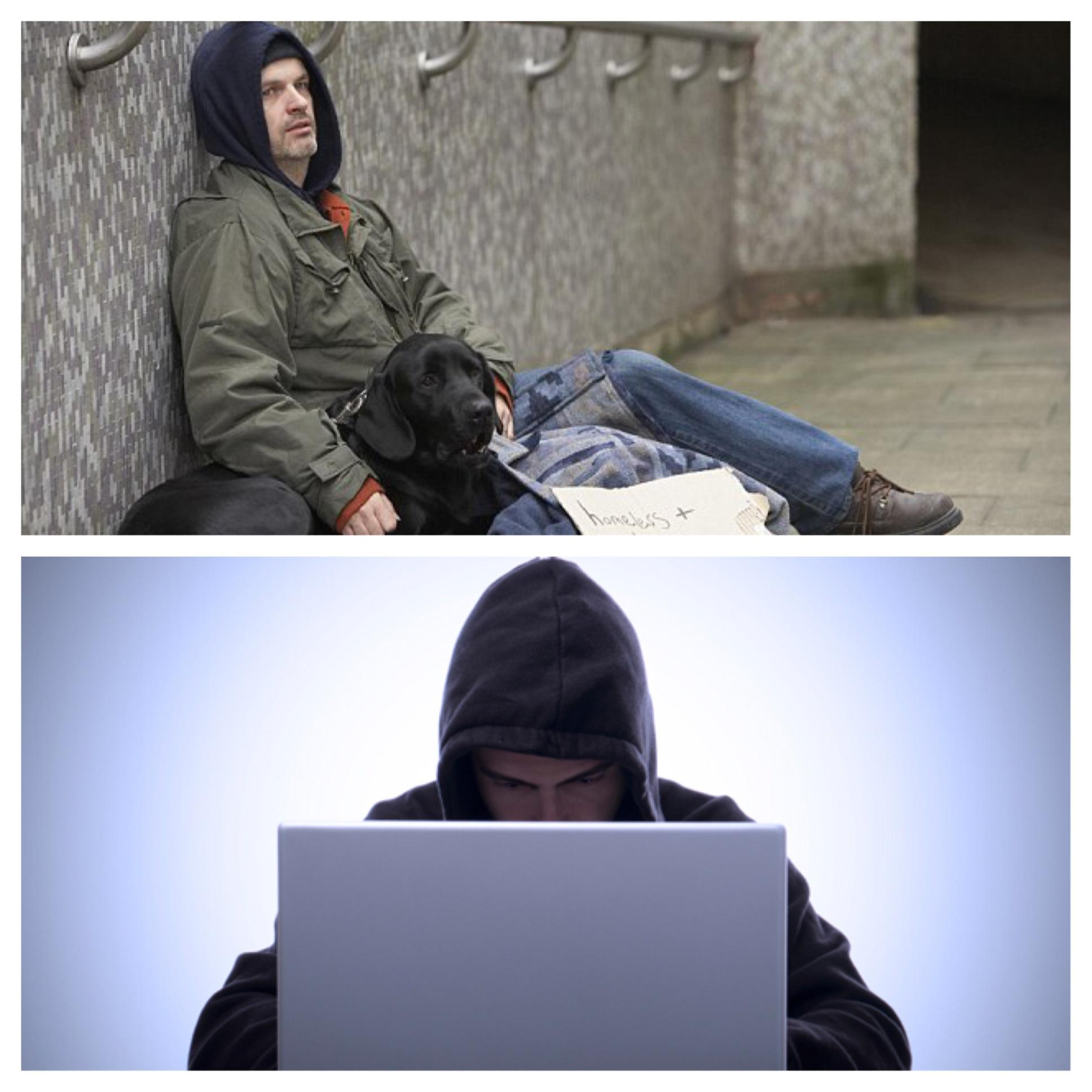 Homeless and Hacker wearing Hoodie