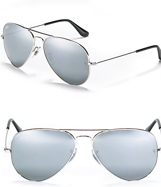 Ray Ban Aviator Sunglasses with Mirrored Lenses Blue