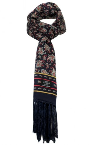 Tootal Scarf Navy Paisley Silk Bag
