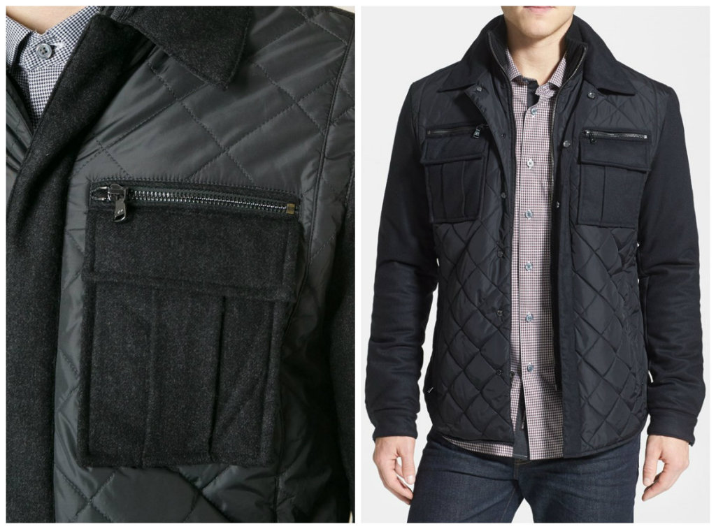 Michael Kors Quilted Mix Media Shirt Jacket