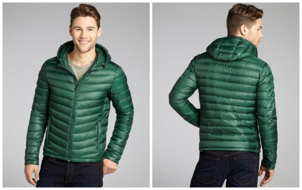 SCOTCH & SODAGreen Quilted Zip Front Hooded Down Fill Coat