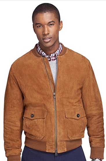 Brown Suede Bomber Jacket by Brooks Brothers - Gift Ideas for Men
