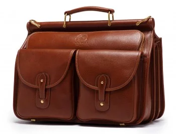 Vintage Chestnut Leather Briefcase by Ghurka