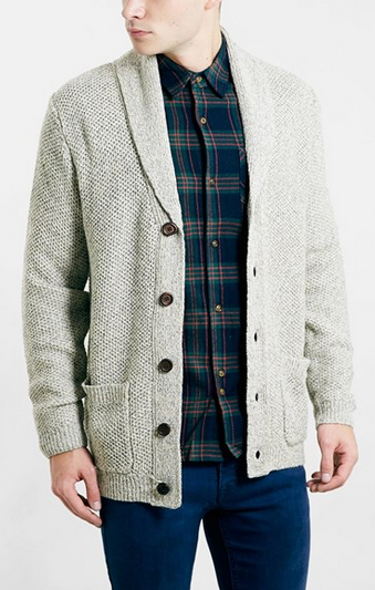 Shawl Collar White Cardigan by Topman - Gift Ideas for Men