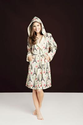 Bedhead Short Hooded Flannel Robe in Christmas Eiffel Tower Print