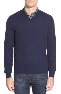 Blue V-Neck Sweater by Billy Reid