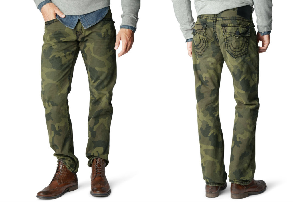 true religion camouflage printed trousers