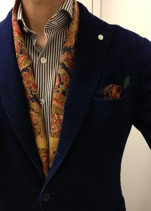 pattern on pattern accessories: scarf and pocket square